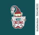 merry christmas elf holding...   Shutterstock .eps vector #506148232