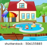 two kids having fun in the pool ... | Shutterstock .eps vector #506155885