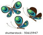 vector of tree color butterflies | Shutterstock .eps vector #50615947
