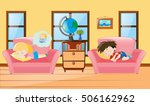 kids taking nap on sofa... | Shutterstock .eps vector #506162962
