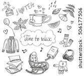 time to relax doodle set. hand... | Shutterstock .eps vector #506177506
