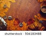happy thanksgiving autumn... | Shutterstock . vector #506183488