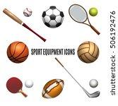 Sport Equipment Icons Set....