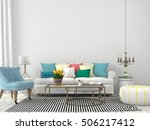 3d illustration. white interior ... | Shutterstock . vector #506217412