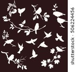 set of decorative bird and twig ... | Shutterstock .eps vector #506224456