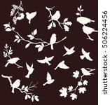 set of decorative bird and twig ...   Shutterstock .eps vector #506224456