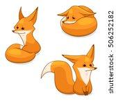 cartoon red fox character ... | Shutterstock .eps vector #506252182