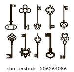 ornamental medieval vintage keys | Shutterstock .eps vector #506264086