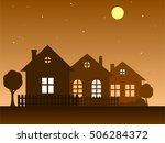 Stock vector vector illustration of home vector silhouettes of houses country cottage 506284372