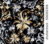 damask floral baroque vector...   Shutterstock .eps vector #506302306