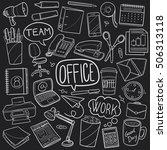 blackboard office work doodle... | Shutterstock . vector #506313118
