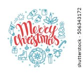 vector christmas card with... | Shutterstock .eps vector #506343172