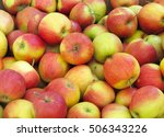 red and yellow organic apples... | Shutterstock . vector #506343226