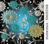 floral damask vector seamless... | Shutterstock .eps vector #506352568