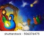 christmas nativity religious... | Shutterstock . vector #506376475
