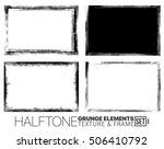 halftone grunge frame set | Shutterstock .eps vector #506410792