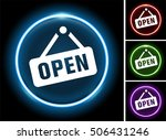 open sign on glow round button | Shutterstock .eps vector #506431246