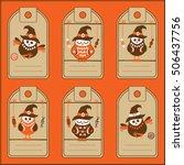 collection of six halloween...   Shutterstock .eps vector #506437756
