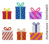 wrapped christmas presents | Shutterstock .eps vector #506456605