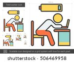 tired worker vector line icon... | Shutterstock .eps vector #506469958