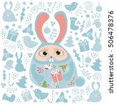 christmas set of doodle design... | Shutterstock .eps vector #506478376