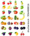 different kinds of fresh fruits ... | Shutterstock .eps vector #506488816