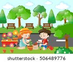 scene with kids planting tree... | Shutterstock .eps vector #506489776