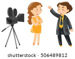 two actors acting out in front... | Shutterstock .eps vector #506489812