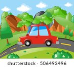 red car riding on the road... | Shutterstock .eps vector #506493496