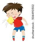 boy in red shirt sneezing... | Shutterstock .eps vector #506493502