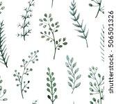 watercolor floral pattern ... | Shutterstock . vector #506501326