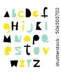 hand drawn alphabet. geometric...   Shutterstock .eps vector #506503702