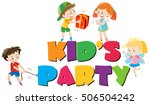 poster design with kids at party | Shutterstock .eps vector #506504242