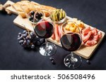 red wine with charcuterie... | Shutterstock . vector #506508496