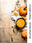 pumpkin soup with seeds on the... | Shutterstock . vector #506518012