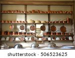 large amount copper cookware  | Shutterstock . vector #506523625