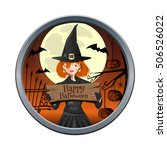 halloween design. young witch... | Shutterstock .eps vector #506526022