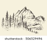 sketch of a mountains with pine ... | Shutterstock .eps vector #506529496