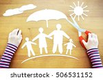 Small photo of Little girl dreaming about safe and large amicable family. Conceptual image with paper scrapbooking