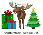 christmas theme with reindeer... | Shutterstock .eps vector #506531245