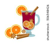 mulled wine with orange slice... | Shutterstock .eps vector #506548426