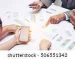 human hands of group coworkers... | Shutterstock . vector #506551342