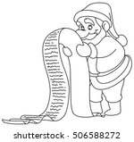 outlined santa claus reading a... | Shutterstock .eps vector #506588272
