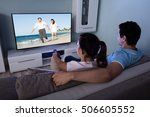 rear view of couple watching...   Shutterstock . vector #506605552