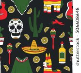 collection of mexican symbols... | Shutterstock .eps vector #506608648