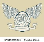 rose with wings tattoo art... | Shutterstock .eps vector #506611018