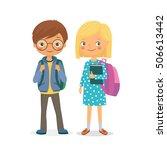 elementary school pupils.... | Shutterstock .eps vector #506613442