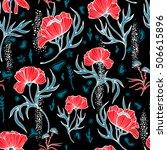 poppy flowers with leaves... | Shutterstock .eps vector #506615896