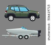 suv vehicle and boat design | Shutterstock .eps vector #506619715