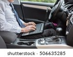 businessman using a laptop in... | Shutterstock . vector #506635285